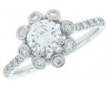 Diamond Engagement Ring 14K White Gold 0.82 cts. SC-7004