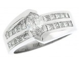Diamond Engagement Ring 14K White Gold 1.52 cts. SC-7007