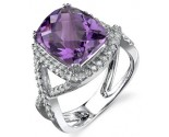 Amethyst Diamond Ring 14K White Gold 0.34 cts. DZ-30073