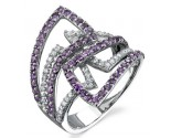 Amethyst Diamond Ring 14K White Gold 0.35 cts. DZ-30078