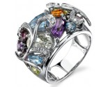 Multicolor Swirl Diamond Ring 14K White Gold 0.05 cts. DZ-30082