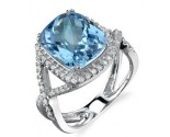 Blue Topaz Diamond Ring 14K White Gold 0.30 cts. DZ-30083