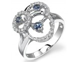 Blue Sapphire Diamond Ring 14K White Gold 0.23 cts. DZ-30097