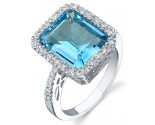 Blue Topaz Diamond Ring 14K White Gold 0.26 cts. DZ-30287