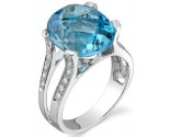 Blue Topaz Diamond Ring 14K White Gold 0.17 cts. DZ-30292