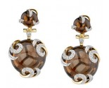 Smokey Quartz Swirl Diamond Earrings 14K Yellow Gold DZ-30340