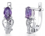 Purple Amethyst Diamond Earrings 14K White Gold DZ-30431