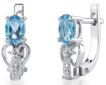 Blue Topaz Diamond Earrings 14K White Gold DZ-30433