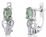 Green Amethyst Diamond Earrings 14K White Gold DZ-30439