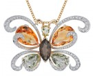Large Butterfly Necklace 14K Yellow Gold 0.60 cts. DZ-30440