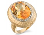 Citrene Diamond Ring 14K Yellow Gold 0.11 cts. DZ-30447