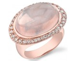Rose Quartz Diamond Ring 14K White Gold 0.69 cts. DZ-30449