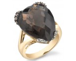 Smokey Quartz Diamond Ring 14K Yellow Gold 0.04 cts. DZ-30457