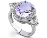 Purple And Green Amethyst Diamond Ring 14K White Gold DZ-30505