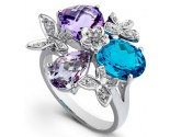 Blue Topaz Purple Amethyst Diamond Ring 14K White Gold DZ-30507