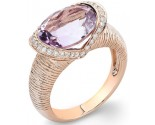 Pink Amethyst Diamond Ring 14K Rose Gold 0.21 cts. DZ-30510