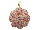 Pink Rose Diamond Pendant 14K Yellow Gold DZ-30535