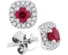 Diamond Ruby Earrings 14K White Gold 0.53 cts. GD-94717