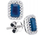Diamond Sapphire Earrings 14K White Gold 1.96 cts. GD-95454