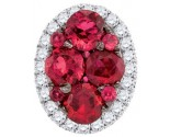 Diamond Ruby Fashion Pendant 14K White Gold 0.79 cts. GD-95433