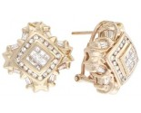 Diamond Earrings 14K Yellow Gold 1.50 cts. A12-E0089