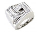 Men's Diamond Ring 14K White Gold 4.00cts. A18-R0548
