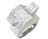 Men's Diamond Ring 14K White Gold 6.90 cts. A24-R0738