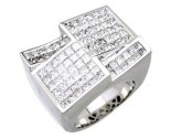 Men's Diamond Ring 14K White Gold 7.15 cts. A24-R0741