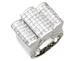 Men's Diamond Ring 14K White Gold 6.90 cts. A24-R0746
