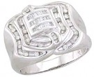 Men's Diamond Ring 14K White Gold 0.60 cts. A28-R0145