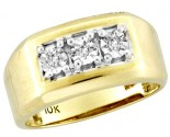 Men's Diamond Ring 10K Yellow Gold 0.06 cts. CL-16396