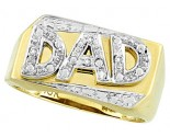 Men's Diamond Ring Dad 10K Yellow Gold 0.03 cts. CL-18587