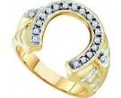 Men's Diamond Horse Shoe Ring 10K Yellow Gold 0.25 cts. GD-15060