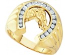 Men's Diamond Horse Shoe Ring 10K Yellow Gold 0.25 cts. GD-21590