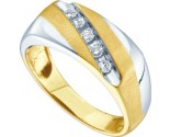 Men's Diamond Ring 10K Yellow Two Tone Gold 0.25 cts. GD-41103