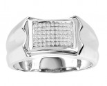 Men's Diamond Ring 10K White Gold 0.16 cts. GS-21780