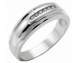 Men's Diamond Ring 14K White Gold 0.15 cts. MSD-213