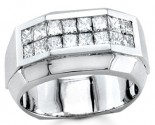 Men's Diamond Ring 14K White Gold 1.35 cts. S18-16