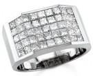 Men's Diamond Ring 14K White Gold 3.30 cts. S18-17