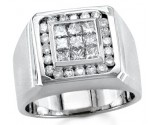 Men's Diamond Ring 14K White Gold 1.75 cts. S18-19
