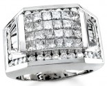 Men's Diamond Ring 14K White Gold 3.90 cts. S18-21