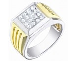 Men's Diamond Ring 14K Two Tone Gold 0.50 cts. S64-10