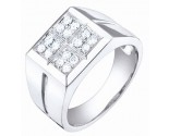Men's Diamond Ring 14K White Gold 0.55 cts. S64-11