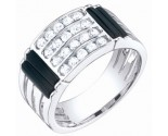 Men's Diamond Ring 14K White Gold 0.75 cts. S64-12
