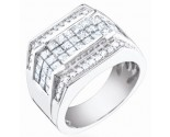 Men's Diamond Ring 14K White Gold 3.05 cts. S64-2