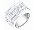 Men's Diamond Ring 14K White Gold 4.20 cts. S64-8