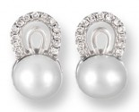 Pearl Diamond Earrings 14K White Gold 0.15 cts. CL-26006