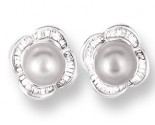 Pearl Diamond Earrings 14K White Gold 0.39 cts. CL-26010
