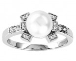 Pearl Diamond Ring 14K White Gold 0.06 cts. CL-26032