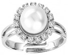 Pearl Diamond Ring 14K White Gold 0.50 cts. CL-26342